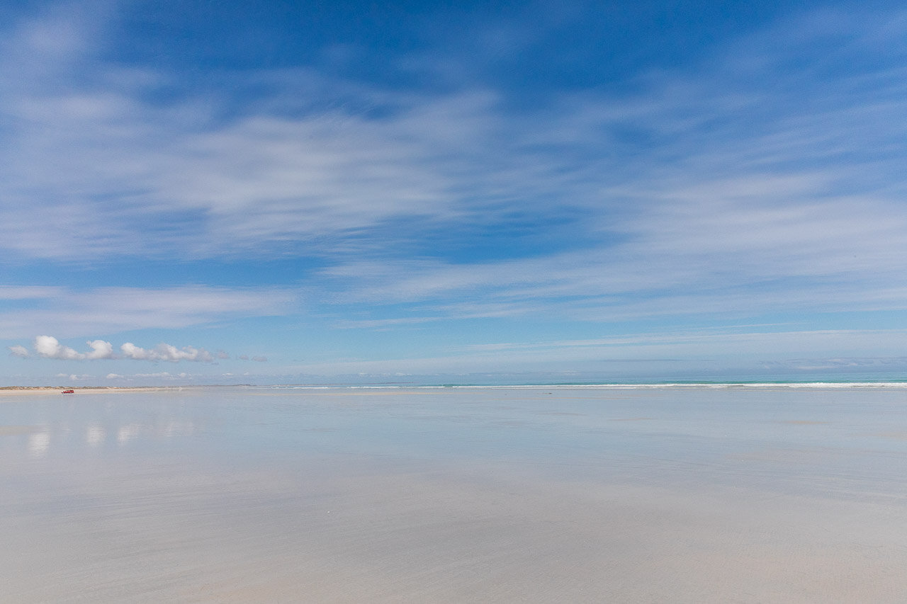 Broome's Cable Beach with cloud reflections in the sand