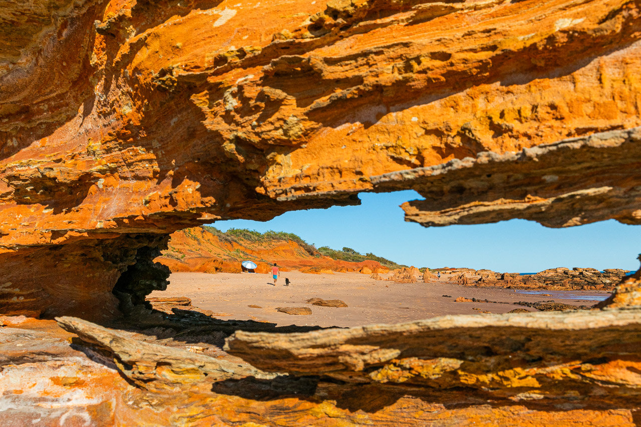 The pindan red rocks at Riddell Beach contrast to the white sand of Broome's Cable Beach