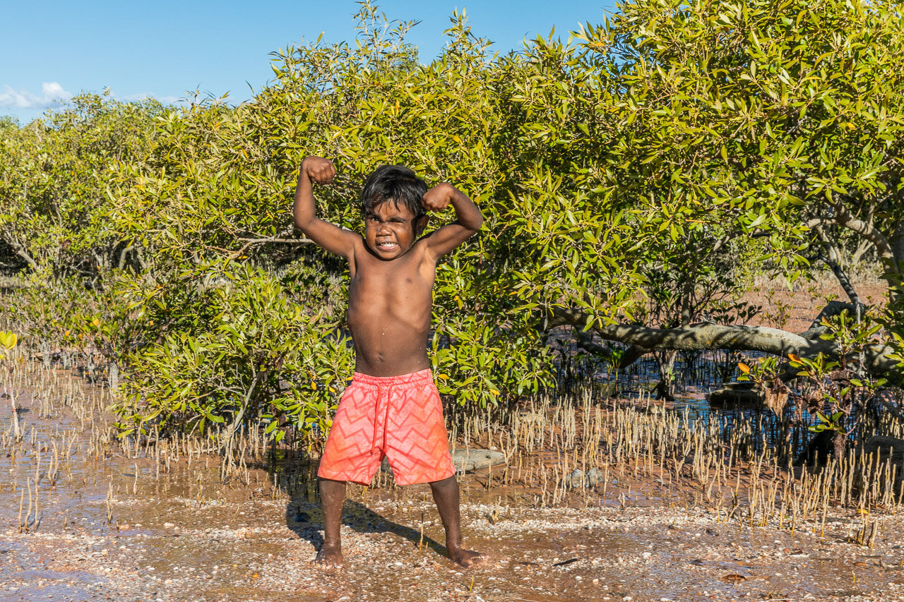 Muscle Man and mangroves at Town Beach in Broome