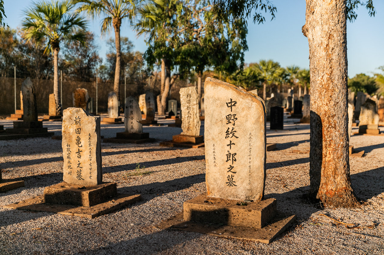 The headstones, or rather footstones at the Japanese Cemetery in Broome, WA