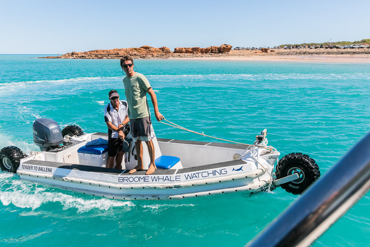 Broome Whale Watching's incredible amphibious vessel which ferries passengers to and from shore