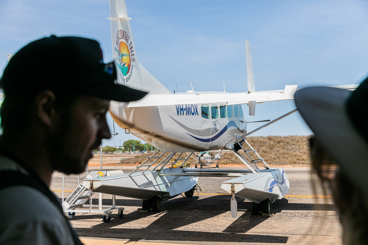 Seaplanes at Broome Airport ready to take passengers on a scenic flight up to the Horizontal Falls