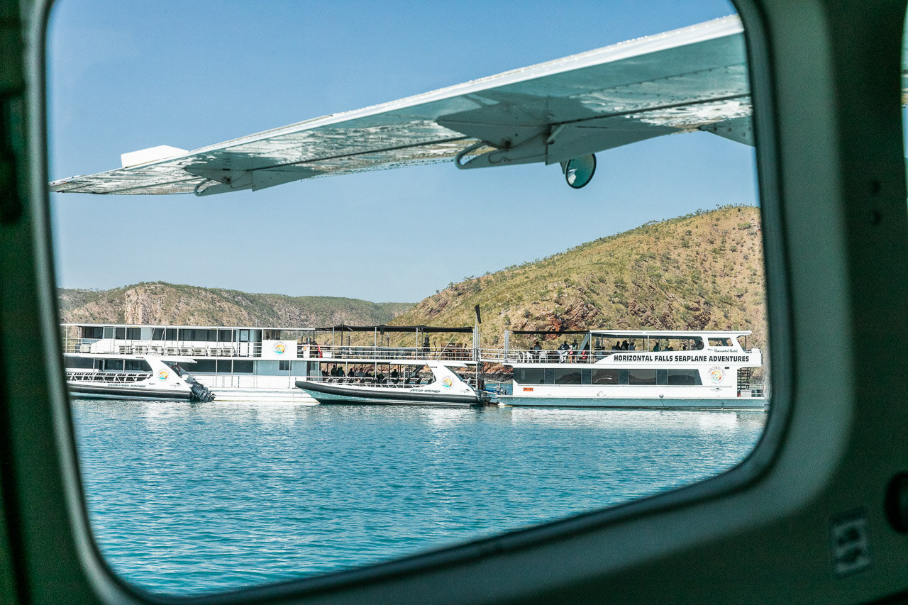 Landing in the seaplane at the Horizontal Falls houseboat
