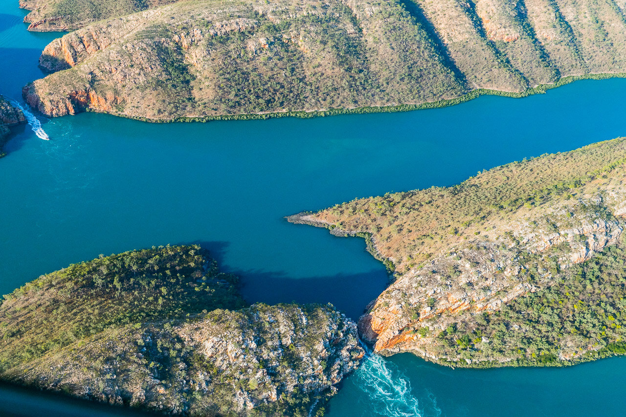 View from the sea plane of the Horizontal Falls in Western Australia
