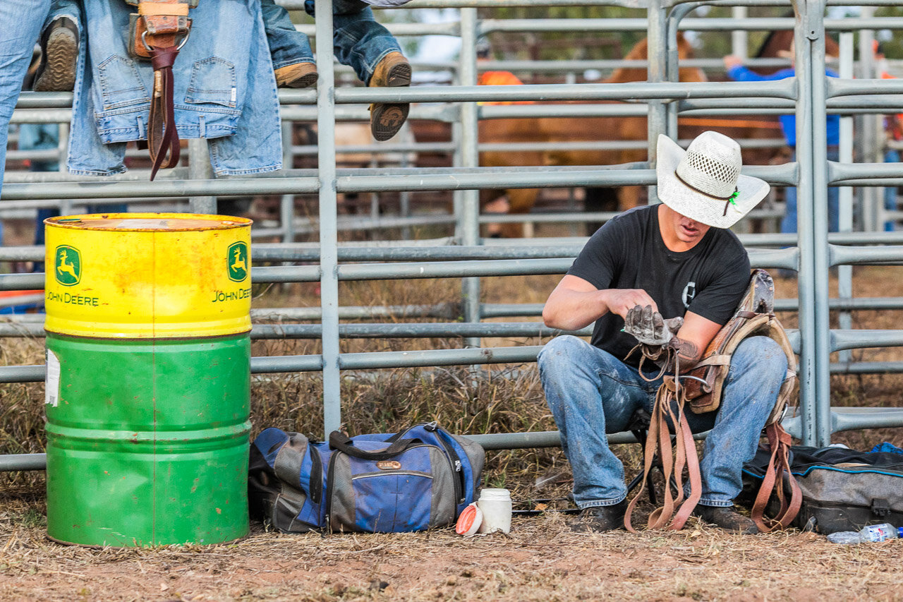 A cowboy getting ready to ride at the Broome Rodeo