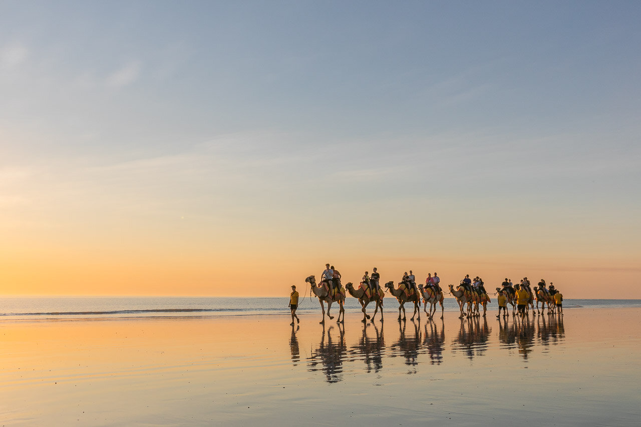 Camel rides at sunset on Cable Beach is on many tourists' bucket list