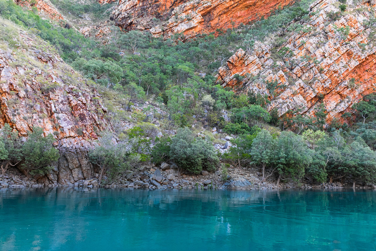 The colours in the rock formations in the Buccaneer Archipelago of the coast of the Dampier Peninsula, WA