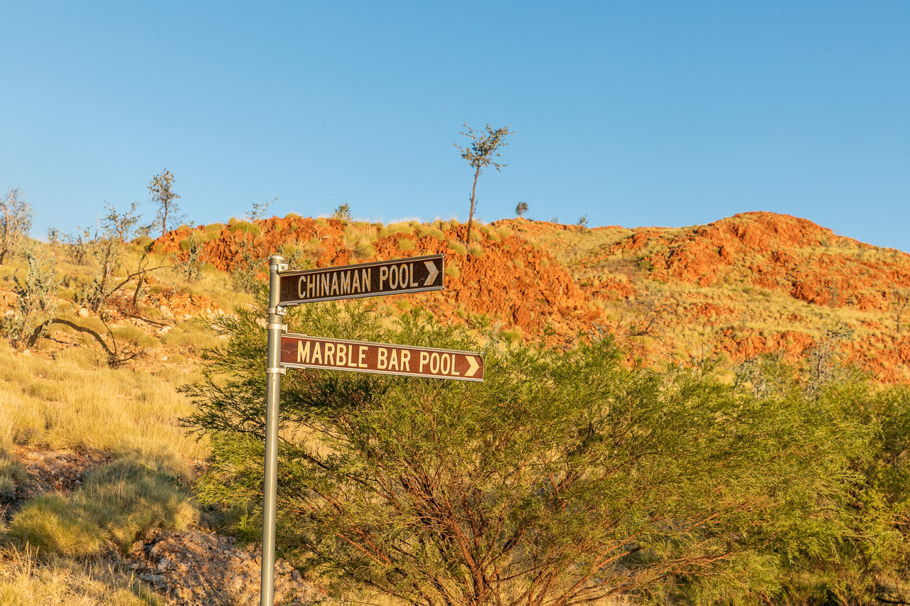 The signpost to Marble Bar Pool and Chinaman Pool in the Pilbara, WA