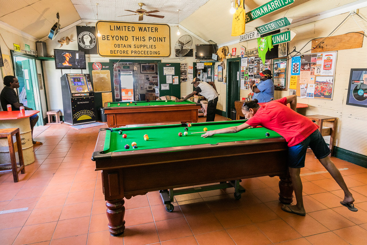 Pool players at Marble Bar's iconic Iron Clad Hotel in outback Western Australia