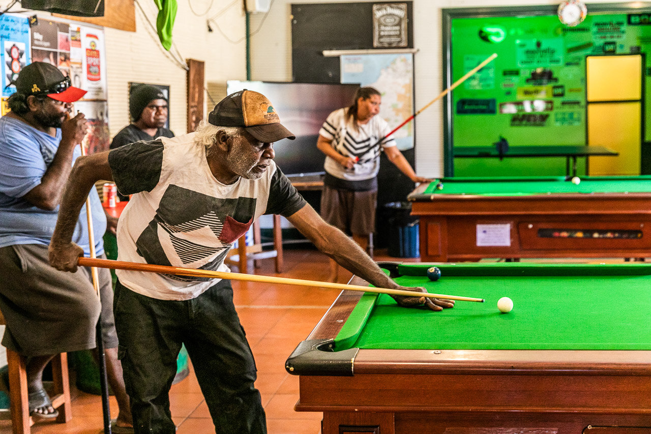 Pool practise at the famous Iron Clad Hotel in WA's outback in the small town of Marble Bar.