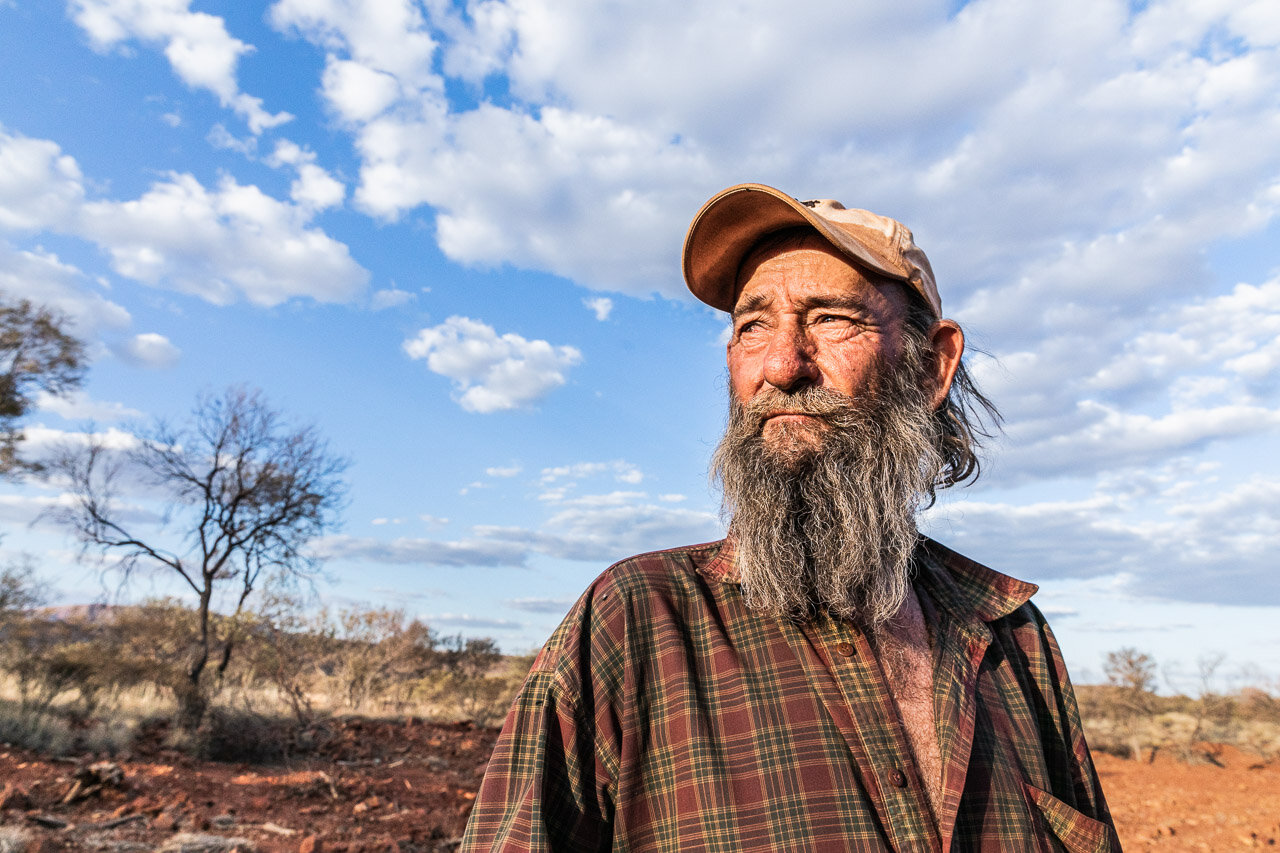 Gold prospector, Johnny Day, in the Pilbara, Western Australia