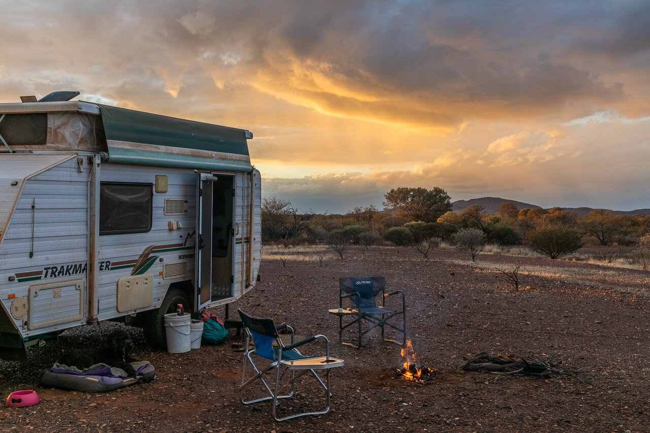 Bush camping at sunset in the Goldfields neat Mount Augustus