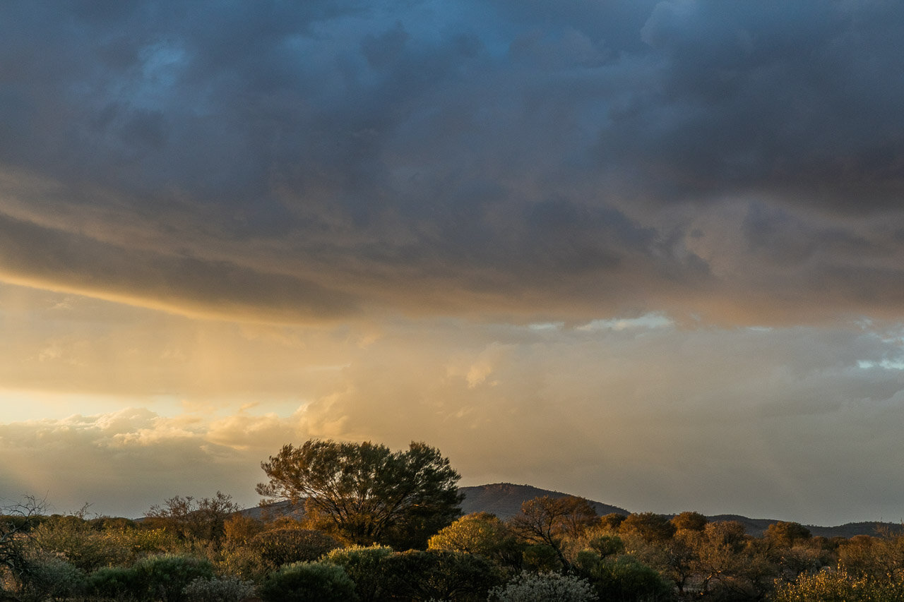 Moody skies and sunset near Mount Augustus in the Goldfields, Western Australia