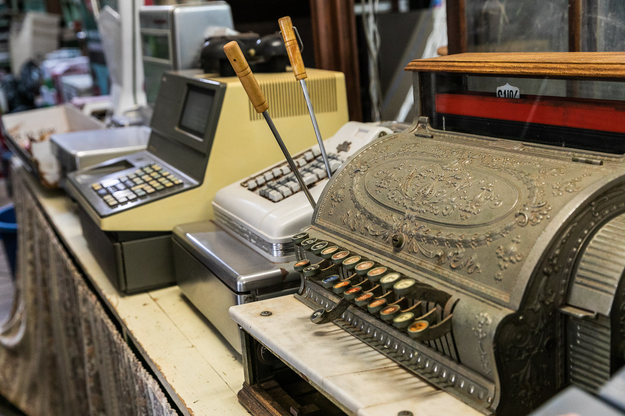Some of the old tills from Bell's Emporium in Cue, Western Australia