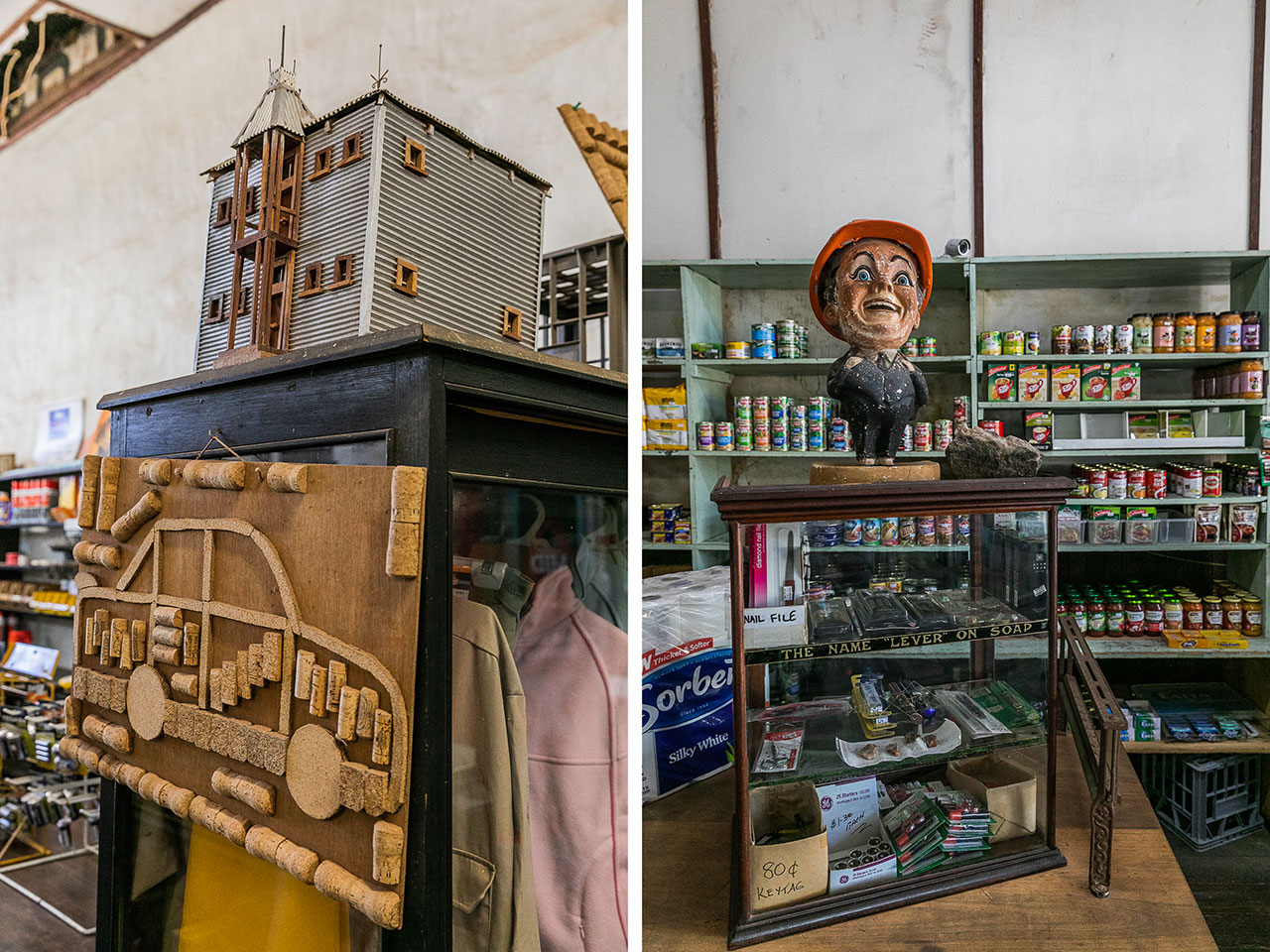 Local art and bric a brac in Cue's Bell's Emporium in the Goldfields