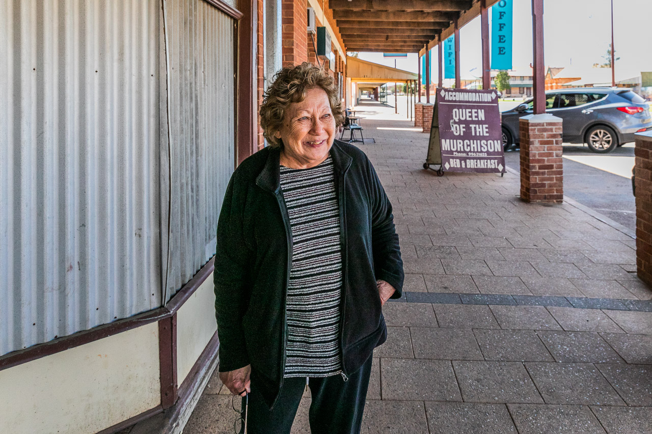 Owner Pixie outside Bell's Emporium in Cue, in the heart Western Australia's Goldfields