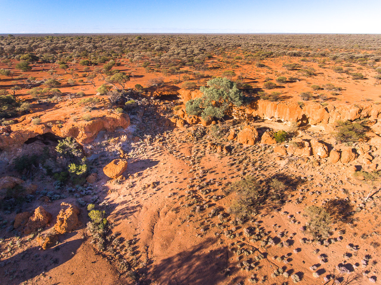 Drone image of Nallan Station's breakaways in WA's Goldfields