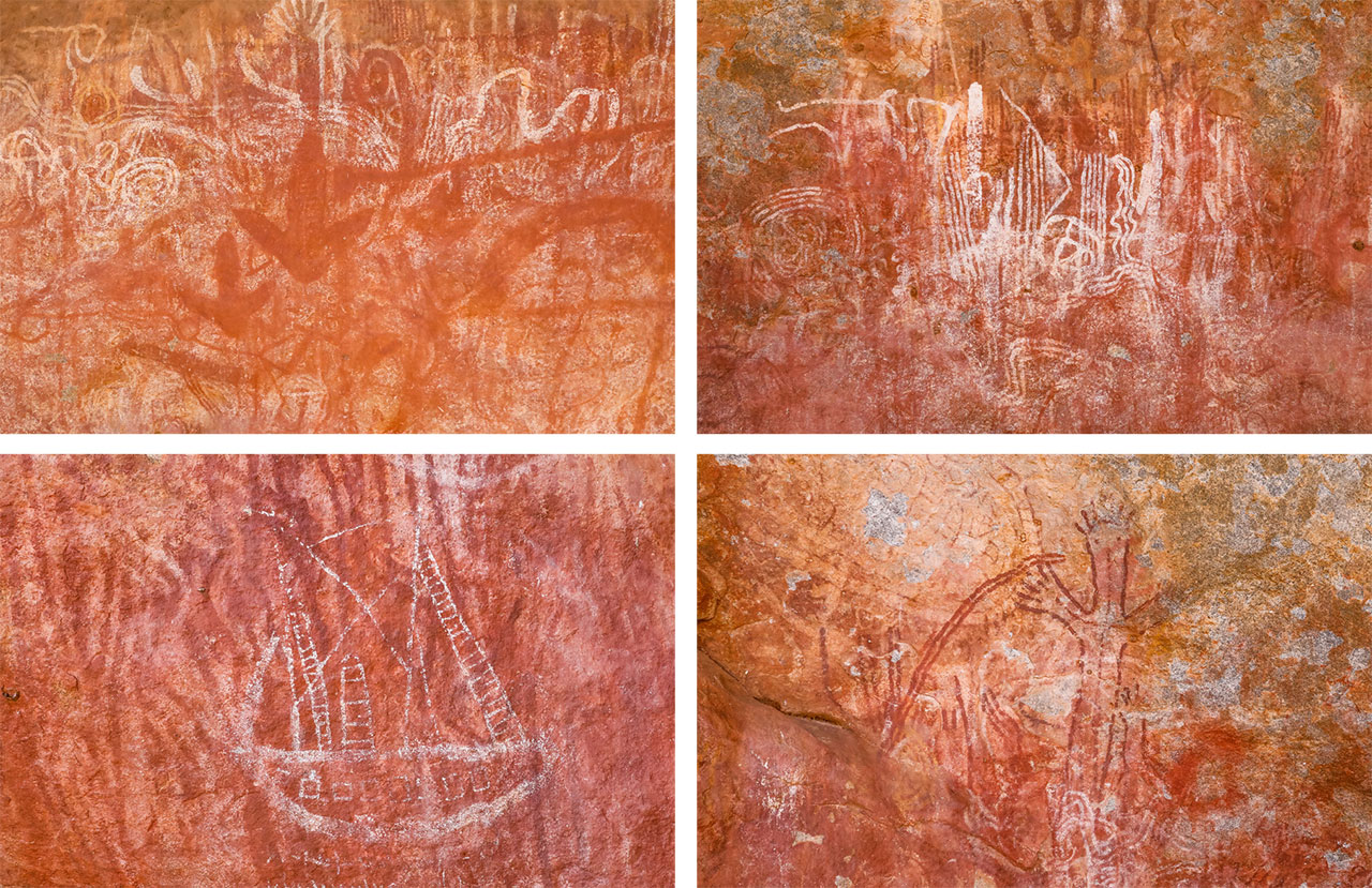 The well-preserved Aboriginal art mysteriously includes an image of a sailing boat. Was it drawn by an early shipwreck survivor?