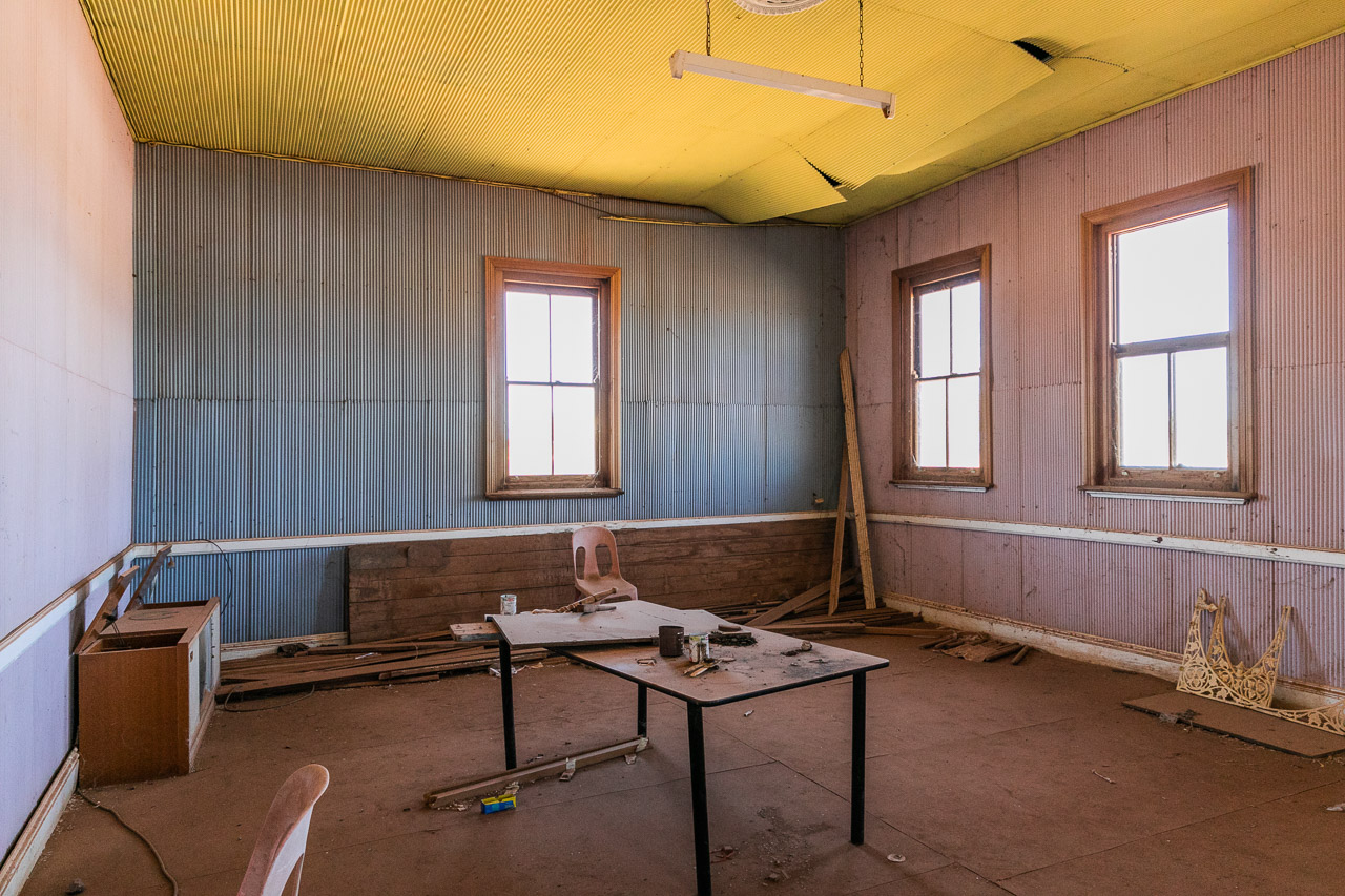 The main room on the ground floor of the old Masonic Lodge building in Cue, WA