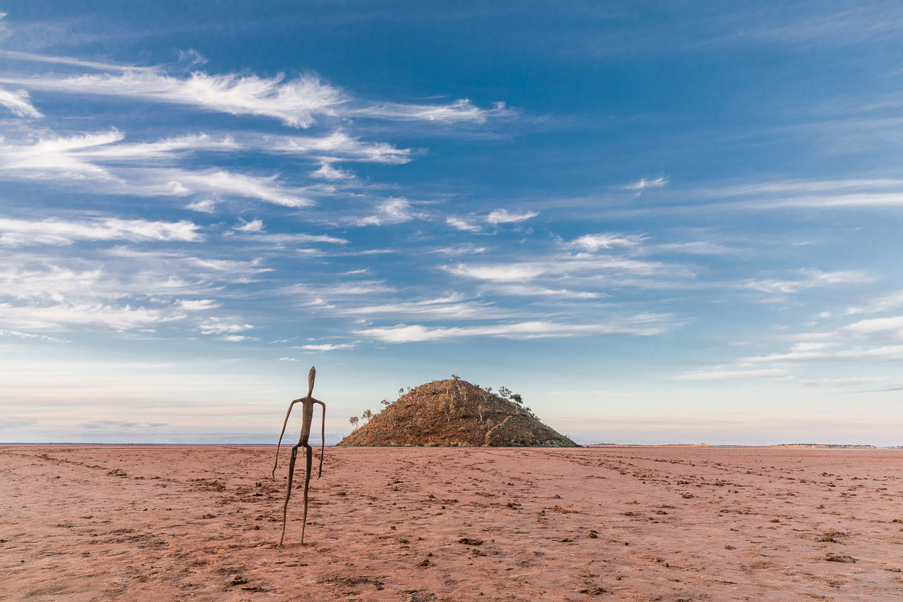 The welcoming party - the first of 51 sculptures by Antony Gormley to greet you on Lake Ballard