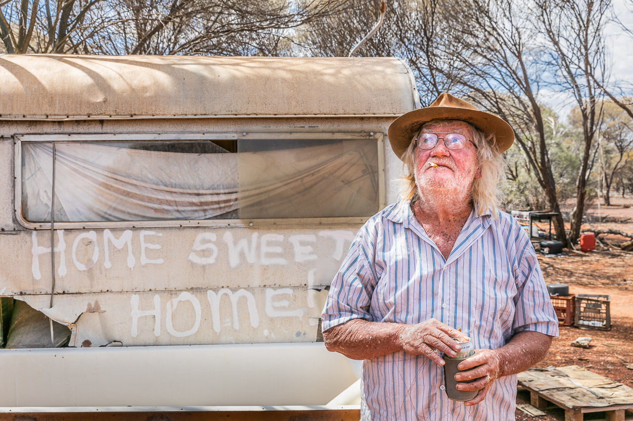 Gold prospector, Lazy Les at home, sweet home, at his bush camp in the Goldfields