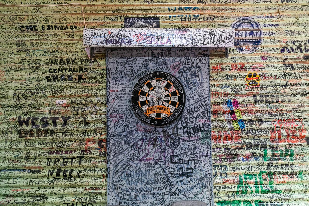 Even the dartboard at the Broad Arrow Tavern has graffiti