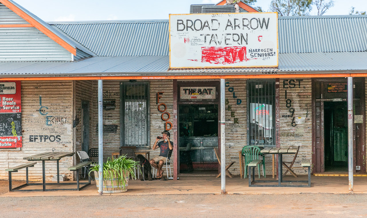 Enjoying a cold beer on the verandah at the Broad Arrow Tavern in the Goldfields