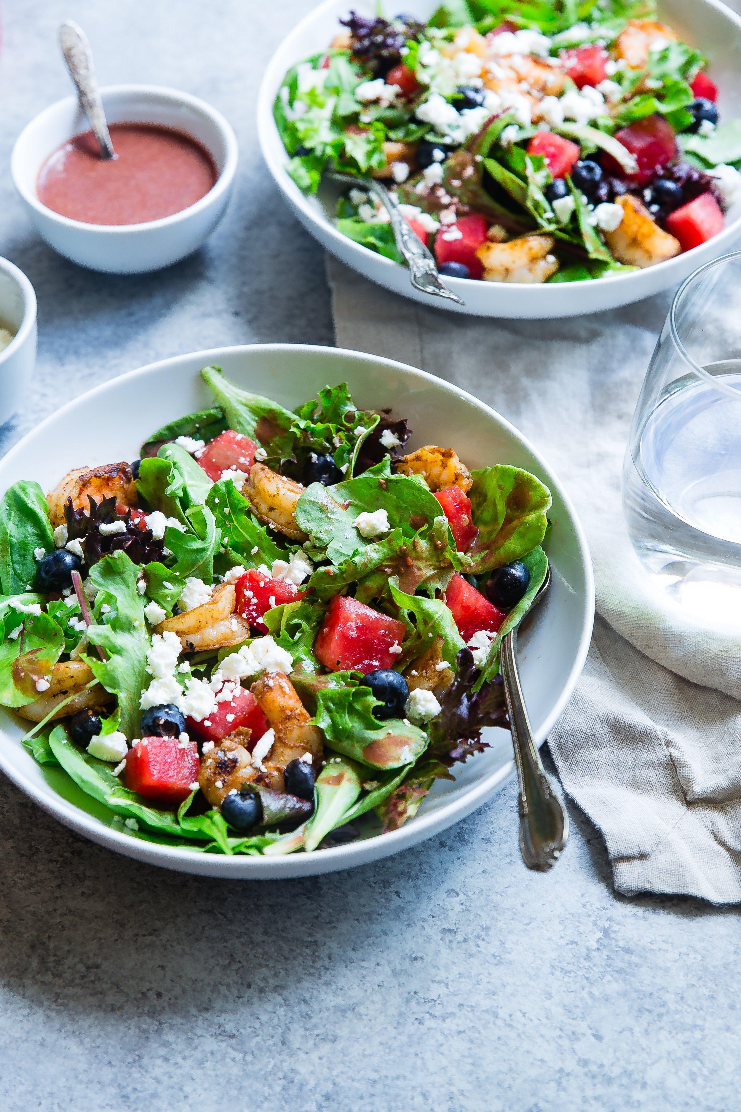 Watermelon Salad - cubed fresh watermelontender greensavocado oilparsleysweet potato thins, cracked