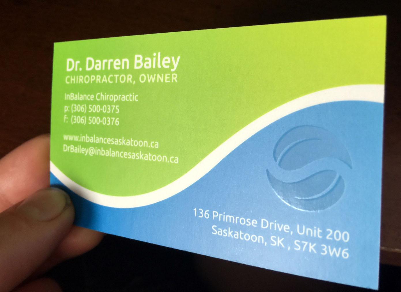 InBalance Chiropractic Business Card Design