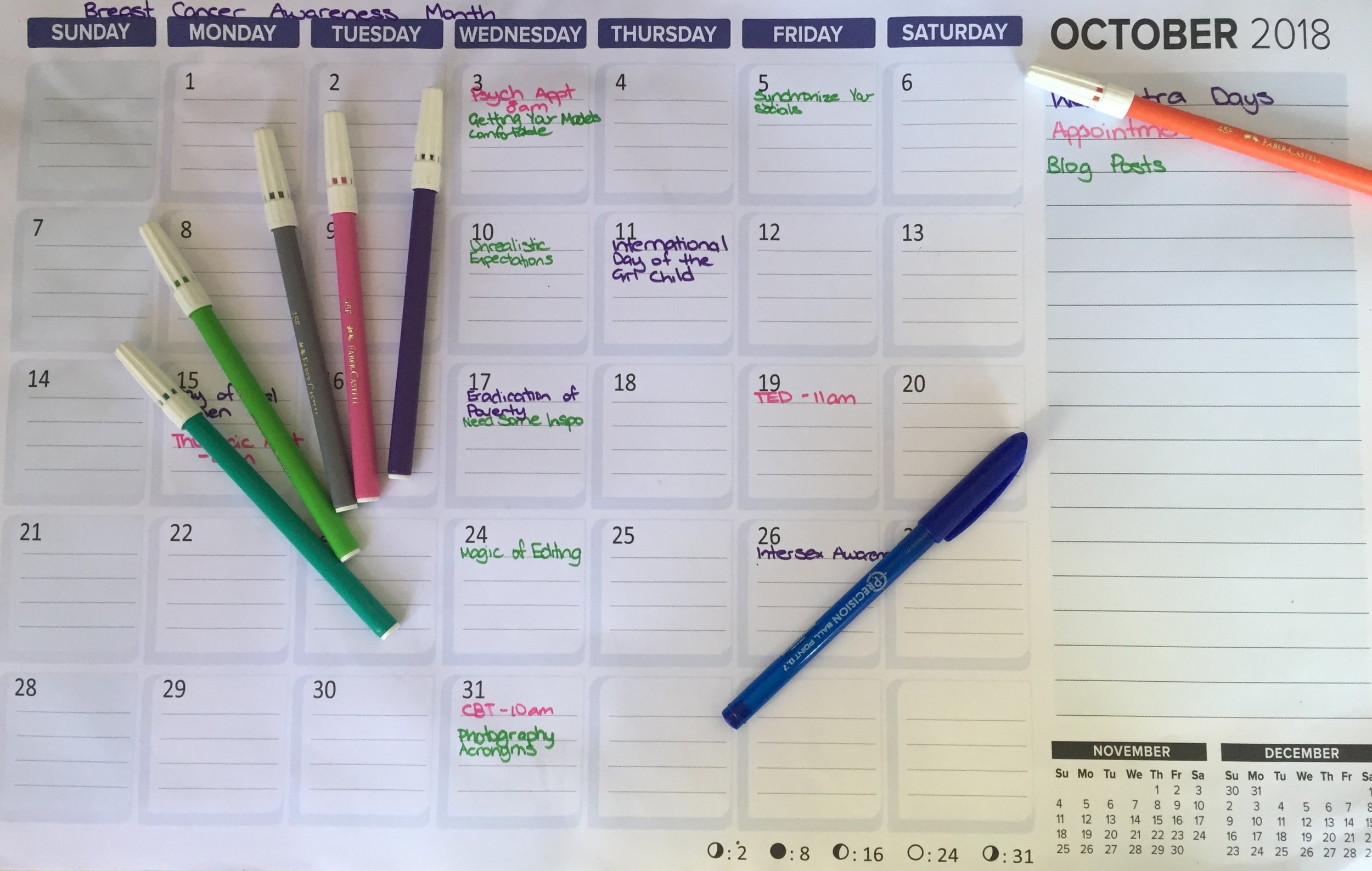 My calendar for the month of October. You can see all of my scheduled blog posts that will be going up this month.