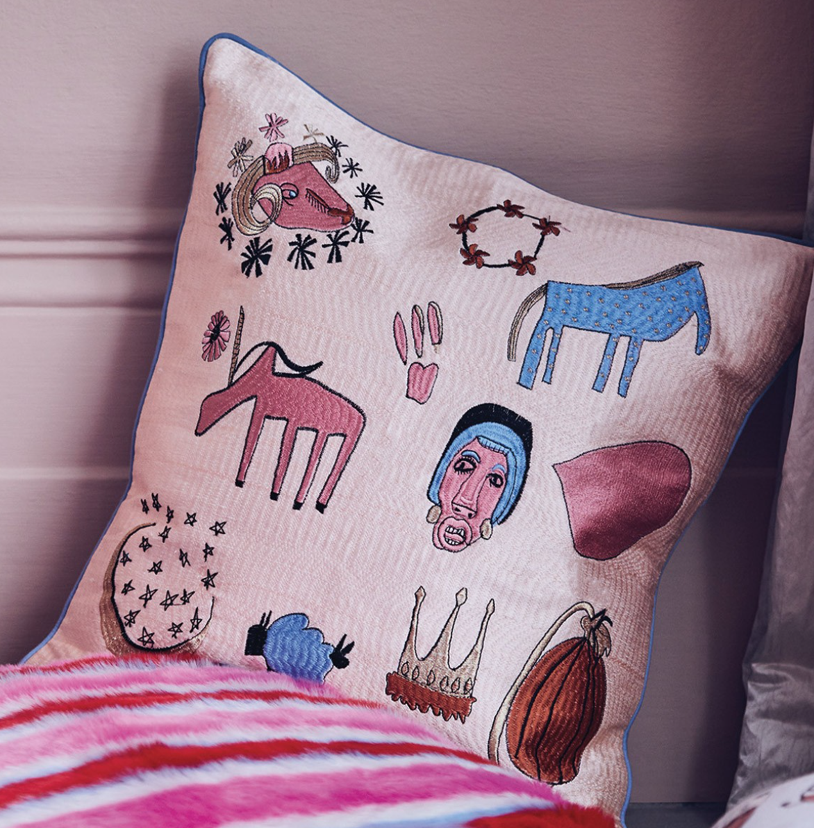 Shrimps for Habitat Embroidered Doodle cushion £70