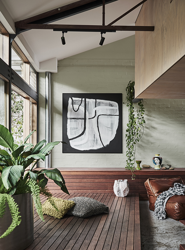 Repair Palette Dulux Colour Forecast.Stylist Bree Leech. Photographer Lisa Cohen. Wall colour Kohukohunui, ceiling in Cadrona. Artwork:'Vessel in Monochrome' original artwork by Antoinette Ferwerda.