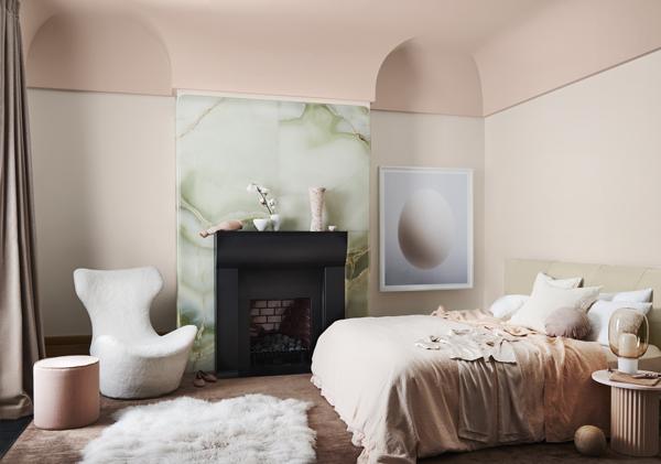 Wholeself Palette Dulux Colour Forecast. Stylist Bree Leech. Photographer Lisa Cohen. Wall colour Dulux Shetland Lace Half, ceiling Dulux Titahi Bay. Artwork:'Ovoid II' original artwork by Nick Horan, Hub Furniture