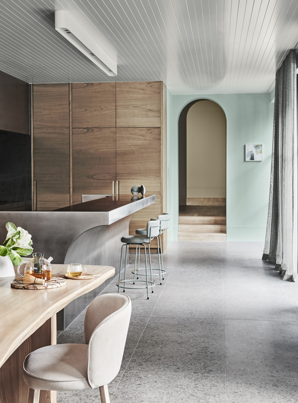 Wholeself Palette Dulux Colour Forecast. Stylist Bree Leech. Photographer Lisa Cohen. Wall colour Dulux Wainui Beach, ceiling in Dulux Cadrona. Artwork:'The Space in Between Trees' original artwork by Kathryn Dolby, Modern Times.