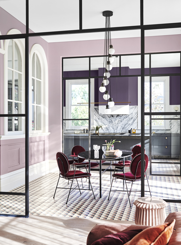 Legacy Palette Dulux Colour Forecast. Stylist Bree Leech. Photographer Lisa Cohen.Wall (front) in Dulux West Plains, wall (rear) in Purple Verbena, ceiling in St Clair Quarter.