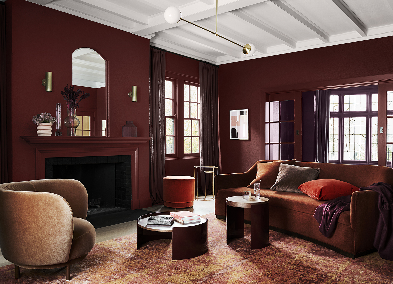 Styling by Bree Leech, Photographer Lisa Cohen.  Wall in Dulux Henna Red  Artwork on wall: Lilac Moon IV, original print by Ellie Malin,  Modern Times