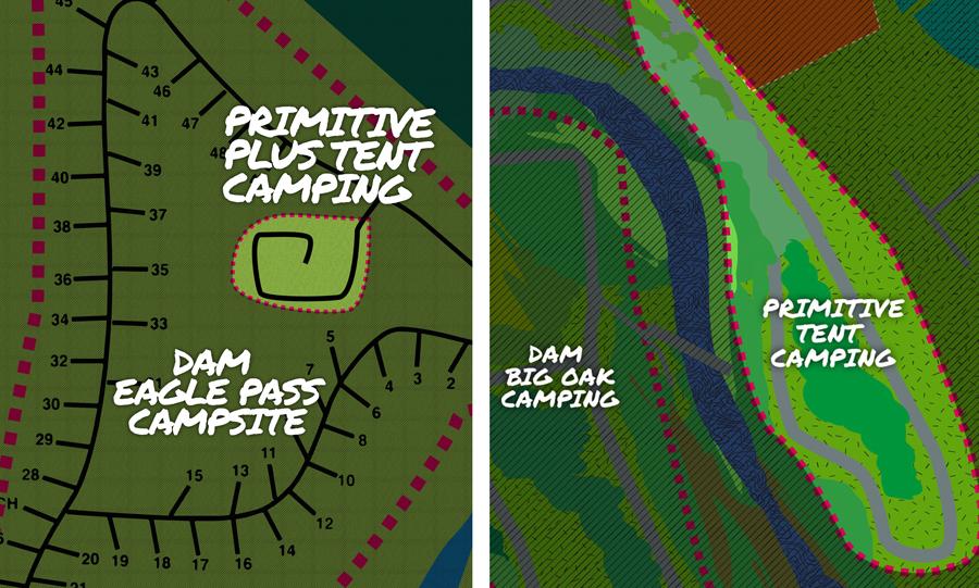 DMF primitive tent CAMPSITEs DETAIL VIEw