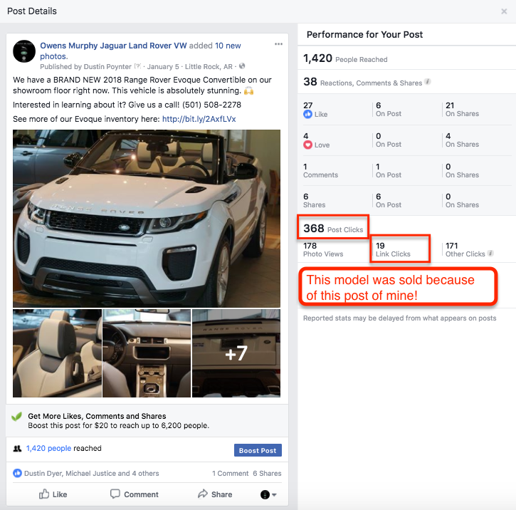 A single social post sold a vehicle for over $70,000. This happens on a regular basis for our client Owens Murphy.