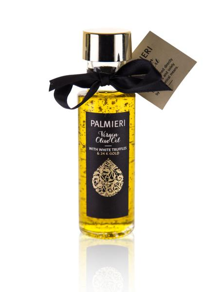 Virgin Olive Oil with Gold & White Truffle - Virgin Olive Oil with Gold & White Truffle is for those who search not only an unique and sophisticated taste but also an aesthetic pleasure within their food.Palmieri olive oil with gold and white truffle provides you with truffles of superior taste and natural aroma. We remain connected to natural ingredients and tradition.Designed for use in professional kitchens - use sparingly!Volume: 100 ml