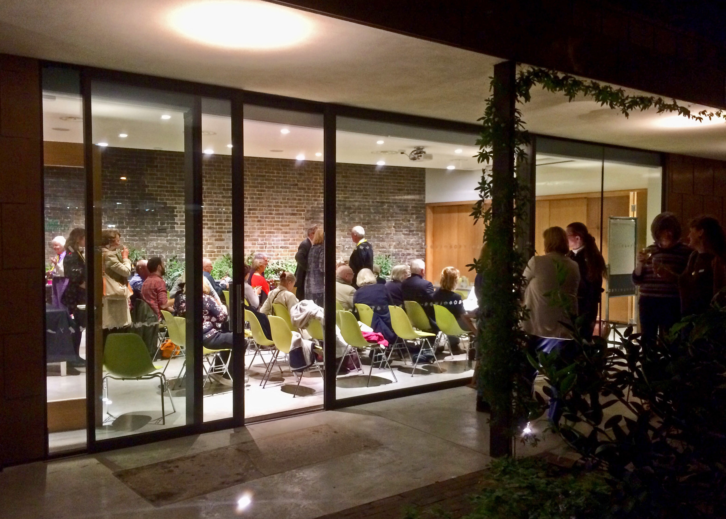Guests gathering in the Clore Learning Space at the Garden Museum Photo: Karen Fitzsimon
