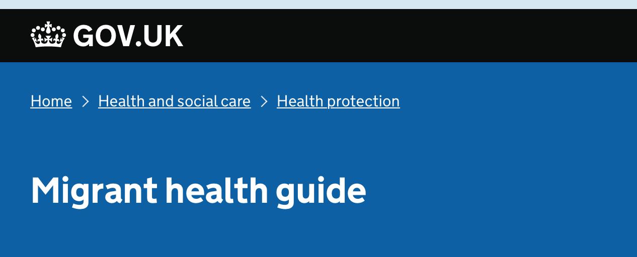 Public Health England's migrant health guide
