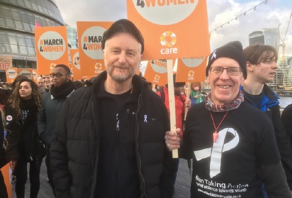 White Ribbon UK founder, Chris Green OBE with Billy Bragg at the 2017 March4Women