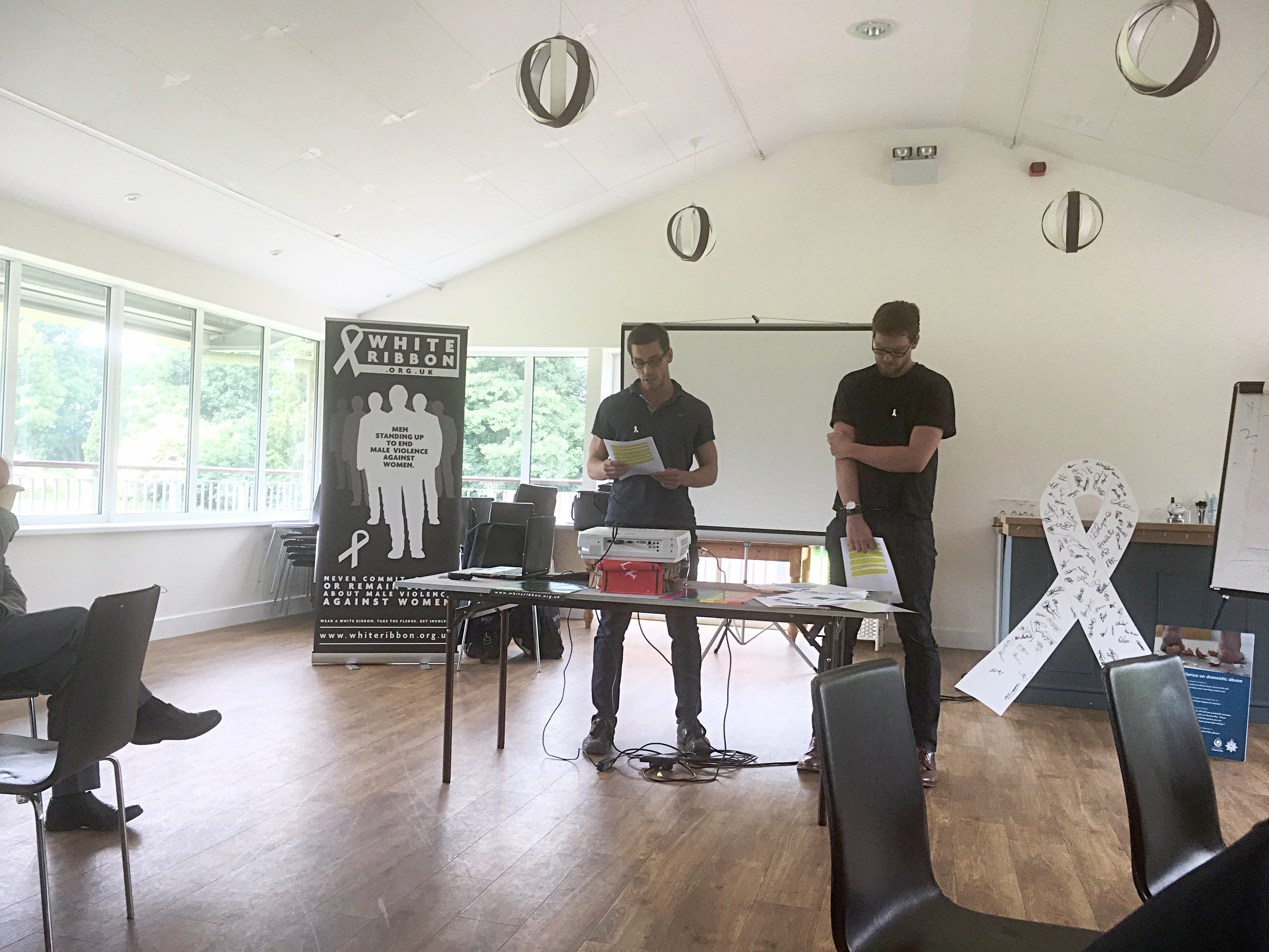 The inspiring presentation from Luke and Ryan Hart, speaking about life with their controlling, murdering father to other White Ribbon Ambassadors .