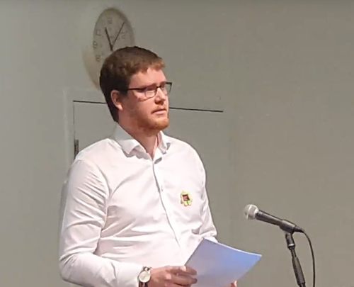 Luke Hart speaking in February at White Ribbon Conference 2019