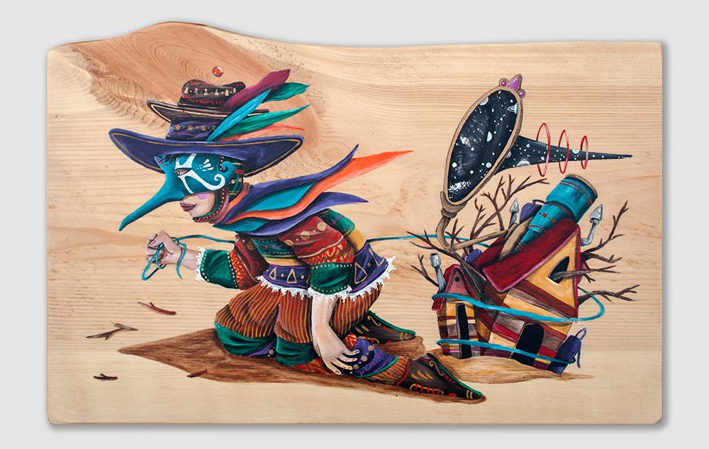 """""""The carrier"""" Acrylic on wood, 40x26 cm. 2017"""