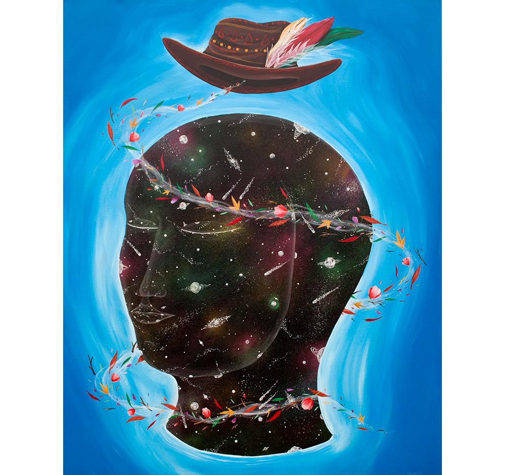 """Universal consciousness"" Acrylic on linen canvas, 100x125 cm. 2017"