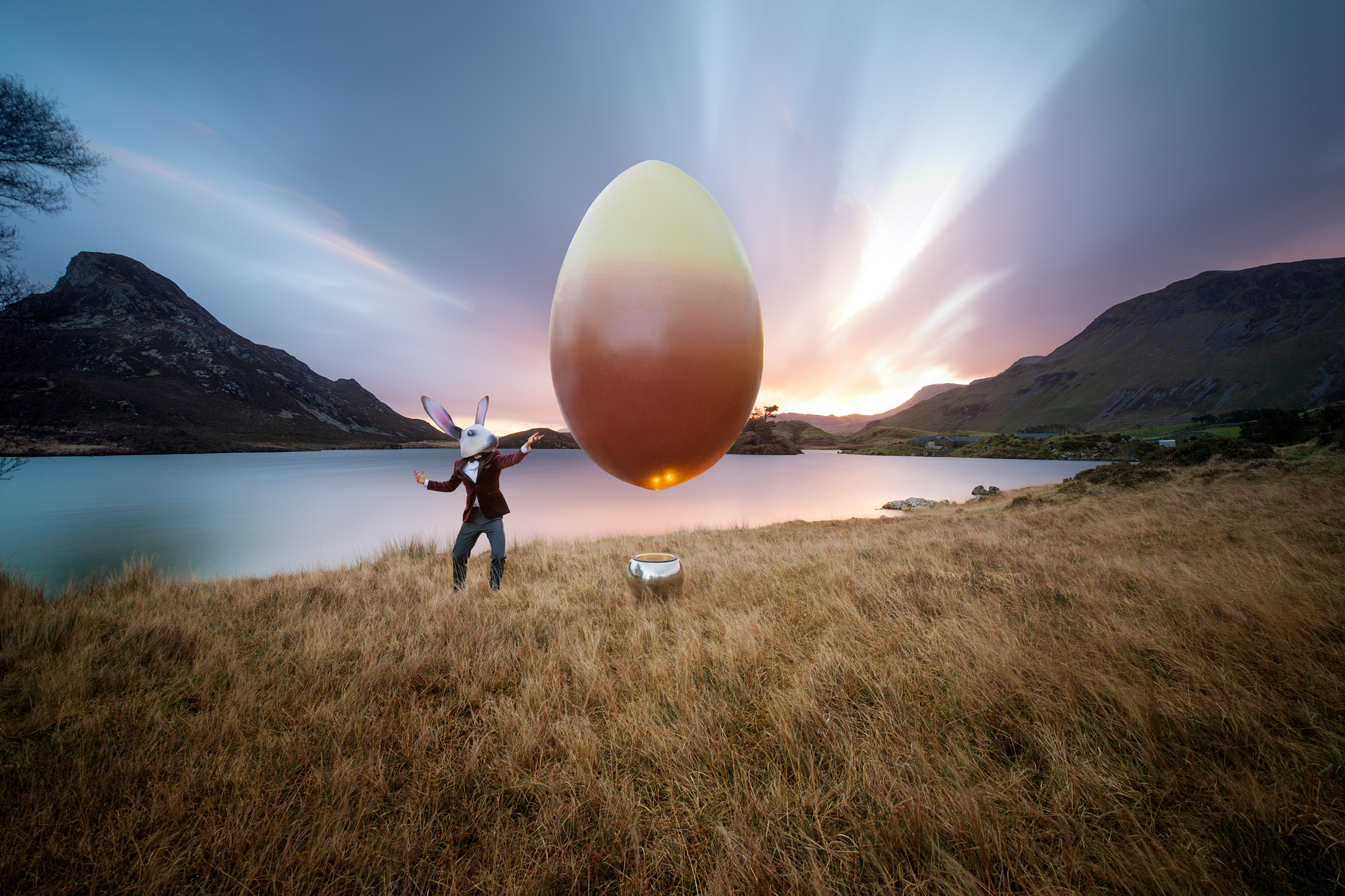 Hotel Chocolat.  A surreal advertising campaign for High Street confectioners Hotel Chocolat featuring brand ambassador Beau Bunny and a levitating egg. Photographed at Cadair Idris, Wales