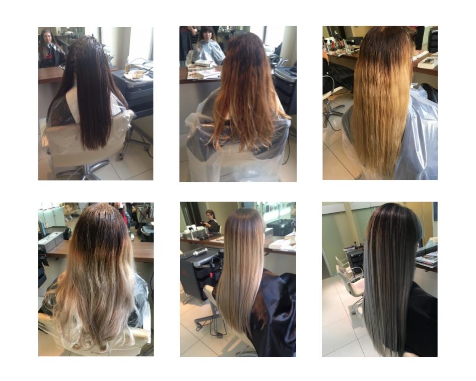 Tak wyglądał proces przechodzenia z bardzo ciemnych włosów do szarych. To zdjęcia z wizyt u fryzjera na przestrzeni kilkunastu miesięcy - jeszcze przed wyjazdem z Polski.