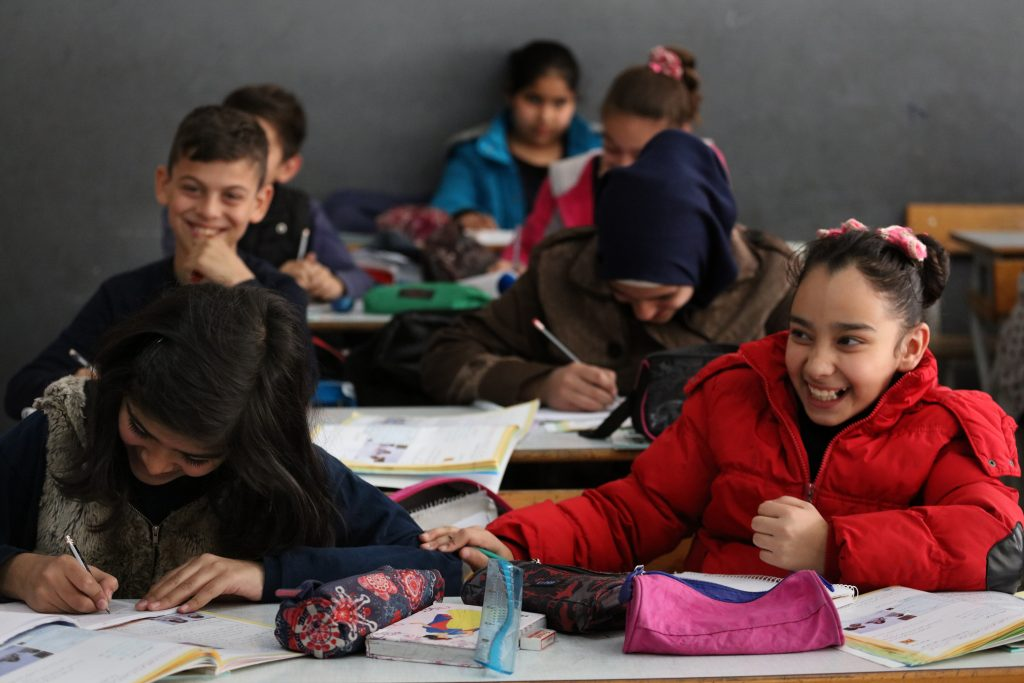 Image © Dominic Chavez/World Bank: Students at the Second Bourj Hammoud Pubic School in Beirut, Lebanon. Two-thirds of the students at the school are Lebanese and one-third are Syrian.