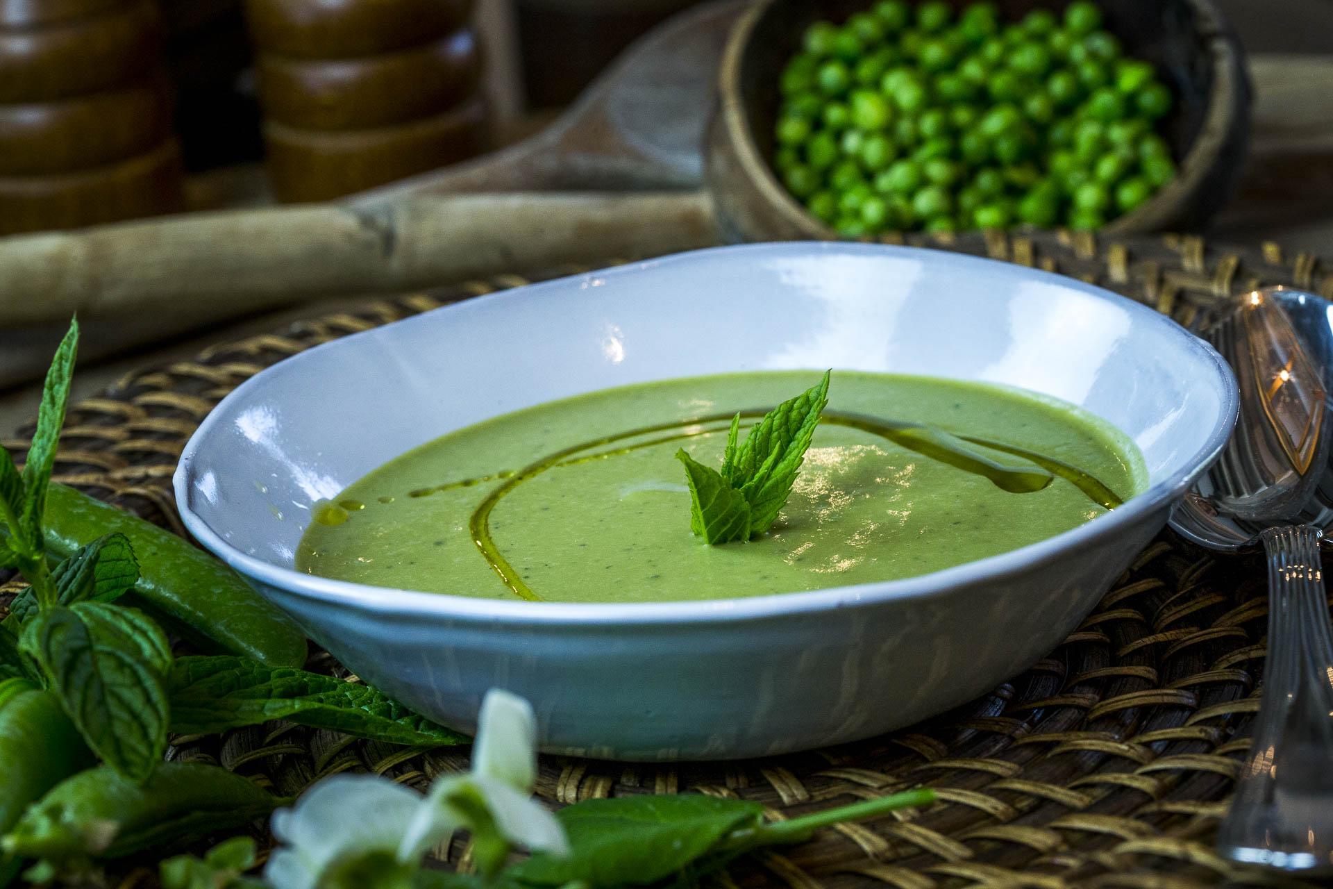 Les recettes - Soupe de petits pois à la menthe